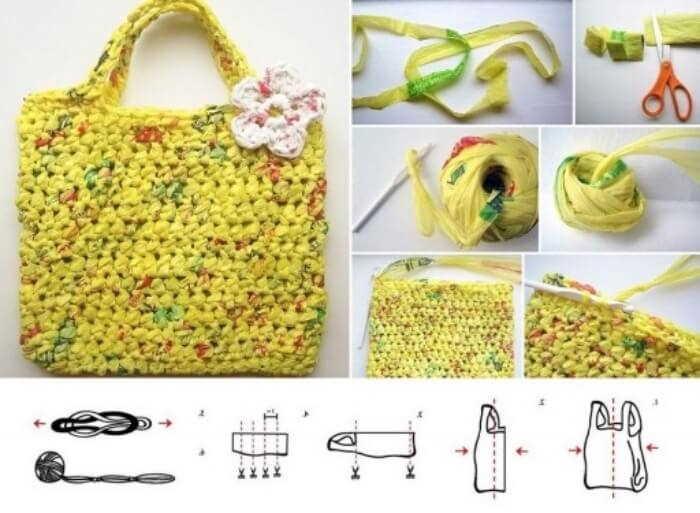Bolsos armados con bolsas recicladas