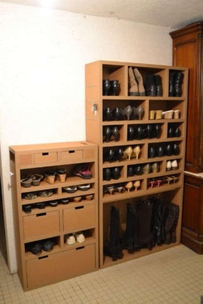 Muebles de cartón reciclado (para guardar zapatos)